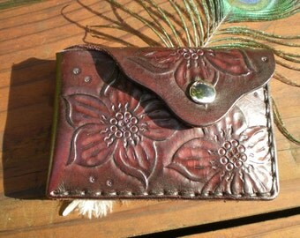 Slim wallet/tooled leather wallet/Women's wallet/handmade wallet/favorite wallet/credit card wallet