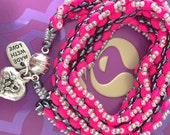 Neon Pink Three Wrap Bracelet With Charms