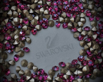 Xilion 1028 20pp Genuine Swarovski Crystals Fuchsia Champagne Coated Rounds Foiled Rhinestones 144pcs 1 Gross