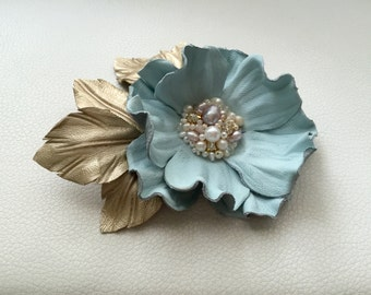 Sky blue leather flower brooch, Leather brooch, Handmade flower, Bridesmaids flower, Mother of the bride flower, Mothers day gift