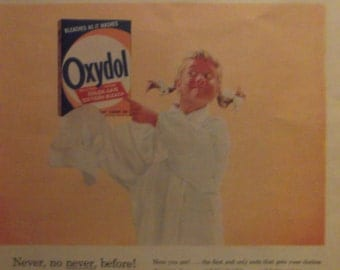 OXYDOL LAUNDRY DETERGENT Original 1950s Vintage Advertisement Laundry Room Decor Ready To Frame Additional Ads Ship Free
