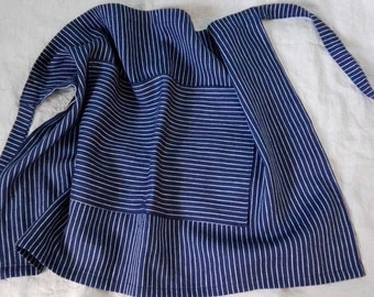 Navy and off white striped prewashed  linen and wool half apron. Soft cafe apron.