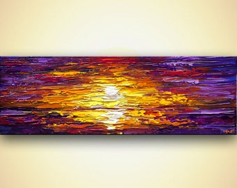 "Sunset Sunrise Painting modern acrylic palette knife Painting 48"" x 12"" Purple, Orange, Light Blues, Yellow by Osnat 48"""