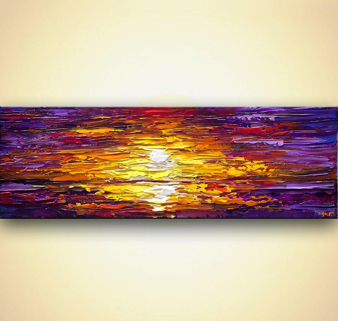 Sunset sunrise painting modern acrylic palette knife painting for Palette knife painting acrylic