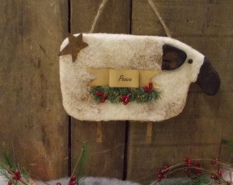 Primitive Prim Sheep Christmas Ornament - Peace