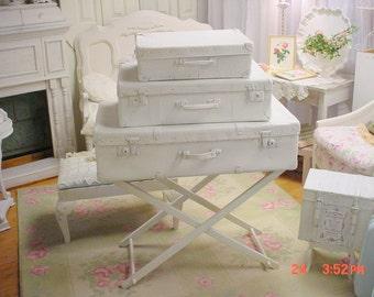 Vintage Suitcase Trio, Painted Romantic Storage Shabby Cottage Chic