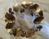 Vintage Dresden Brass Seashell Wreath