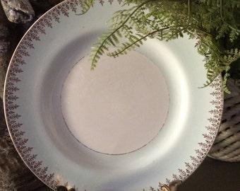 Antique British Anchor Fine China Aqua Gold White Dinner Plate