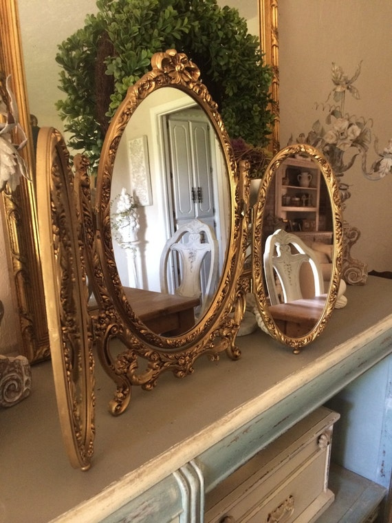 Ornate Syroco Tri Fold Mirror French Provincial Vanity
