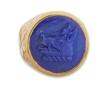 Lapis Ring Hand Carved Boar's Head Regnas Signet Gold Plated Sterling Silver 925
