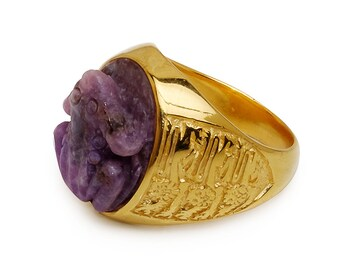 Amethyst Frog Ring Hand Carved Genuine Gemstone Gold Plated Sterling Silver 925