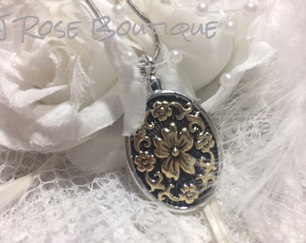 FLOWER fORGET ME NOT  24K Gold Stainless Steel Cremation Urn Locket Necklace Pendant with chain and funnel Ash Memorial