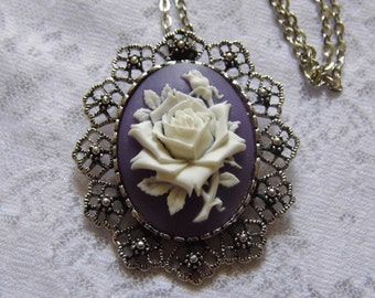 Purple Rose Necklace Pendant Brooch Combo Goth Victorian Steampunk PAGAN