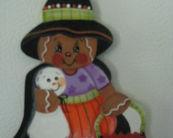 Gingerbread, witch, ghost, pumpkin, halloween, trick or treating, handpainted, magnet, gift for her