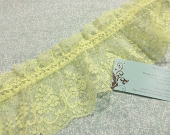 Yellow lace, 1 yard of 5 inch Yellow Ruffled Chantilly Lace trim for wedding, bridal, baby, lingerie, hair acc by MarlenesAttic - Item 2Q