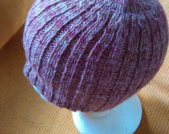 Pink pure wool ribbed hat