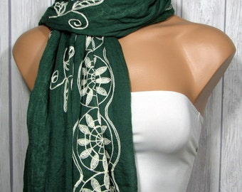 CLEARANCE Rectangle Scarf for Women, Dark Pine Forest Green Boho Viscose Fabric Scarves or Table Runner