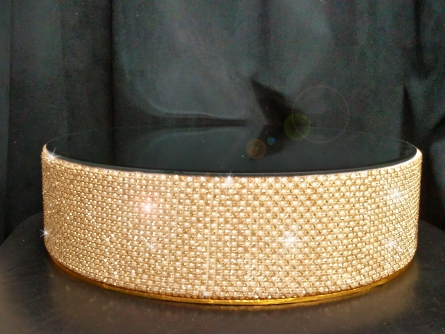 Gold crystal & ivory Pearl wedding cake stand round or