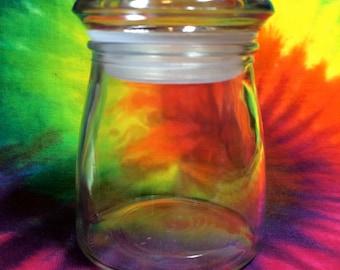 5 Glass Stash jars Size 3 inch tall