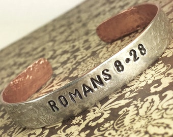 Romans 8:28 Silver and Copper Soldered Bracelet, Scripture Reference Bracelet, Handstamped Inspiring Bracelet by Kyleemae Designs