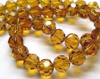 50 Topaz Glass Beads 8mm Faceted Round Beads - 50 Pieces
