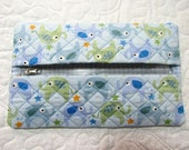 Blue Elephant Quilted Butipod Cover Diaper Wipes Case