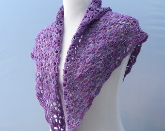Hand crochet purple shawlette