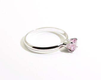 Reserved for Kelly - Sparkling Pink Sapphire (Genuine), Round Cut, 5.5mm x 0.65 Carats, Handmade Sterling Silver Ring