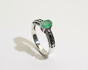Emerald (7mmx5mm Transparent Genuine Emerald), 0.65 Carat, Oval Cut, Sterling Silver Ring
