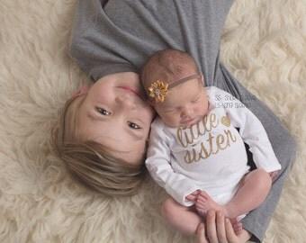 Little Sister Bodysuit/shirt, little sister gold glitter, little sister shirt, little sister, Little Sister Big Sister, Baby shower gift