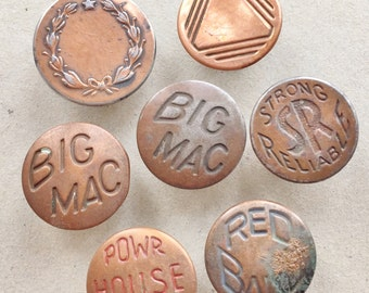 destash of vintage eco friendly corroded oxidized copper tone metal rivet buttons from jeans--mixed lot of 7