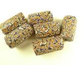 6 pcs matched big Venetian millefiori mosaic cylinders glass trade beads African