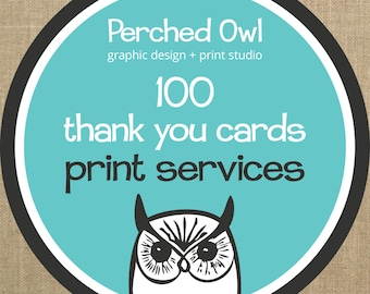 100 Professionally Printed Fold Over Thank You Cards with Envelopes - ADD ON - to any Fold Over Thank You Card Design