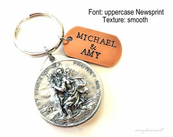 Personalized St Christopher Keychain, Christian Keychain, Motorcycle Keychain, Athletes Key Chain, Custom Keychain, Our Lady of the Highway