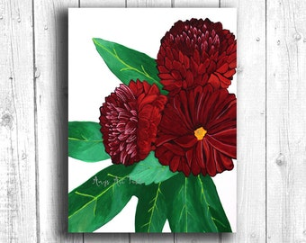 Red Dahlia Painting Digital download, Printable original art, Digital 8x10 art printable