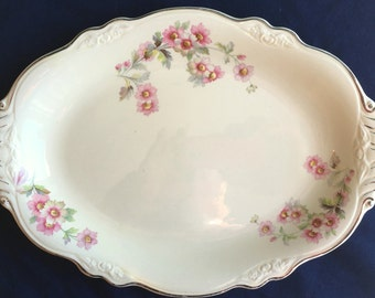 """Homer Laughlin 11-1/2"""" Virginia Rose Oval Platter in Excellent Condiiton"""