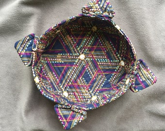 Quilted fabric bowl with navy and purple geometric pattern