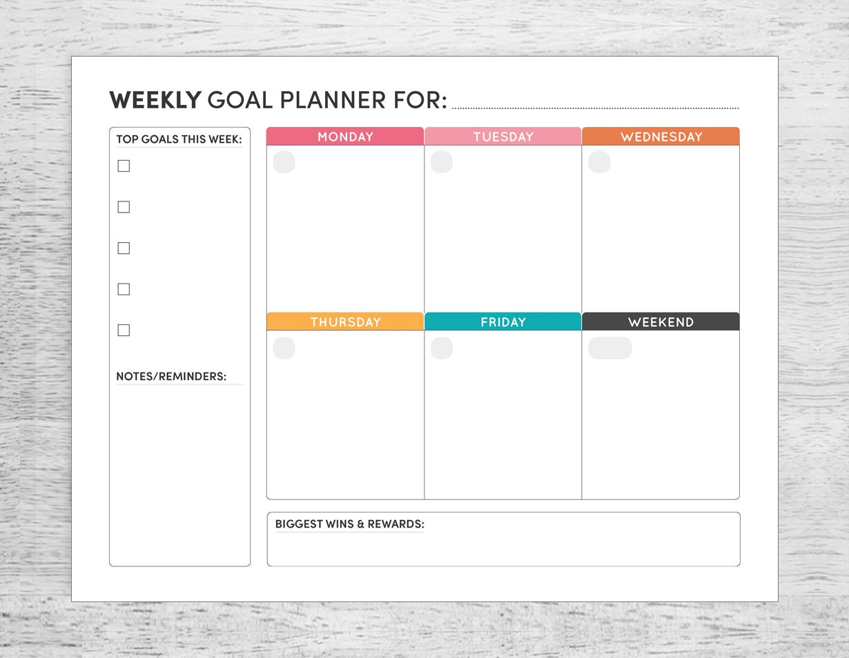 Effortless image within weekly goal planner