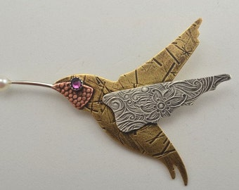 Hummingbird Pin - Mixed Metal Brooch - Metalsmith Hummer