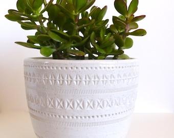 Mid Century Bitossi White Planter Italian Ceramic Pottery Italy Aldo Londi