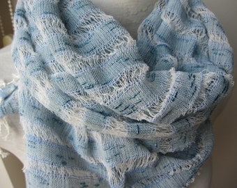 Blue linen scarf-linen lover gift scarf-hand dyed gauze natural linen scarf-women's scarves-woman fashion accessories-Turkish-wedding shawl
