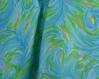 Vintage Dress Fabric, Turquoise and Green, Feather Fabric by the Yard, Fabric Yardage, Vintage Blue Fabric - 1 1/8 Yard - DF1650