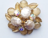 Reserved- Vintage Juliana Brooch, Champagne Rhinestone Brooch, D & E Delizza Elster Juliana Jewelry