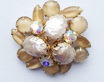 Vintage Juliana Brooch, Champagne Rhinestone Brooch, D & E Delizza Elster Juliana Jewelry