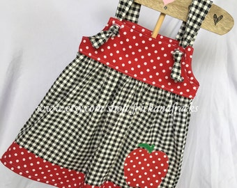 Gingham Knot Dress with Apple Appliqué- First Day of School/ Back to School