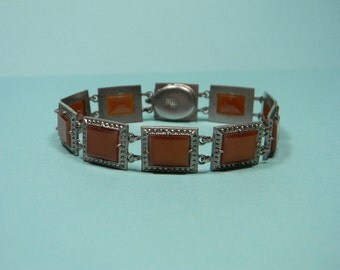 Made In Czechoslovakia Cinnamon Glass Bracelet, Squares, Vintage Classic, Signed