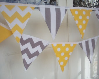 Yellow, Grey and White, Chevron, Stripe and Polka Dot Fabric Bunting/ Flag Banner - 12 Flags