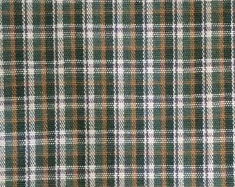 Cotton Fabric / Green Plaid Fabric 2 Yards