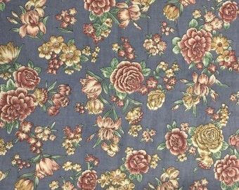 Cotton Fabric Blue Floral Fabric 1 Yard / Ozark Calico by Fabri Quilt Inc