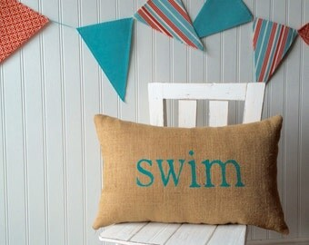 swim pillow, nautical decor, aqua blue pillow, burlap pillow, swim, nautical nursery, blue pillow, beach home decor by whimsysweetwhimsy